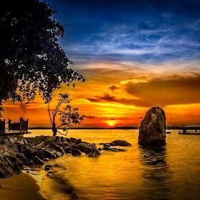 Fiery Sky by GokulaGiridaran Mahalingam - Landscapes Sunsets & Sunrises ( changi, changi board walk, sunset, landscape, singapore )