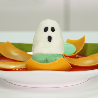 Magic Jack O Lantern Halloween Dessert with Pumpkin Spice Ganache and Surprise Ghost Brownie
