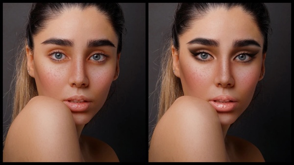 ante se depois da foto de uma mulher branca sendo que em uma foto está com a maquiagem CEO do AirBrush