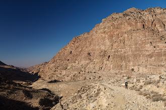 Photo: Hiking beneath the sandstone walls of Wadi Dana was quite nice