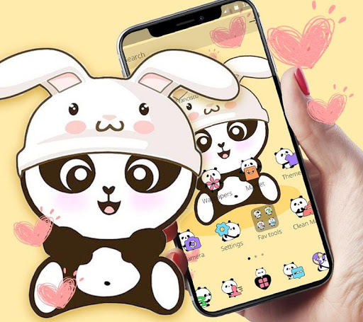 Yellow Cute Panda Bunny Theme 1.1.1 screenshots 1