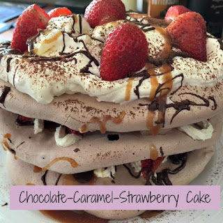 Chocolate-Caramel-Strawberry Cake