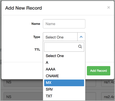 The MX record type is selected on the Add New Record window.
