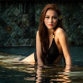 Asian Girl in Black Swimsuit by Happy Sugianto - People Portraits of Women ( model, swimsuit, woman, swimming pool, asian )