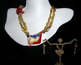 Photo: <BEREHYNYA> {Great Goddess Protectress} unique one-of-a-kind statement jewellery by Luba Bilash ART & ADORNMENT  #91 - GOLDEN PALATE ~ ЗОЛОТА ПАЛІТРА - copper enamel pendant; MOP; coral; 14K gold vermeil $160/set SOLD/ПРОДАНИЙ