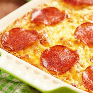 Three Cheese Pepperoni Pizza Casserole.