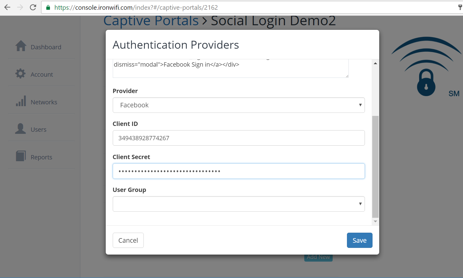 facebook authentication provider