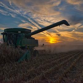 Harvest After Hours by Jeff Cottingham - Transportation Other ( harvest, corn, sunset, john deere, combine )