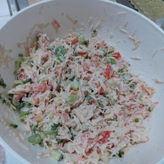 Crab Salad with Cucumber & Tomato.