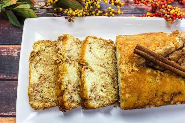 Amish Cinnamon Bread Cut Into Slices.