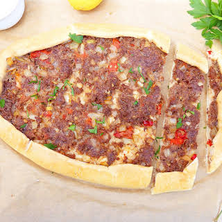 Spicy Turkish Pide with Ground Beef and Chillies.