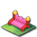 ピンクのブロックベンチ