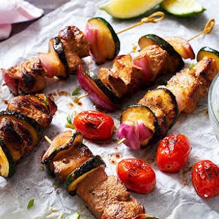Grilled Pork Kebabs with Spicy Yogurt Sauce.