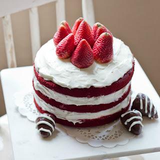 Easy Naked Red Velvet Cake.