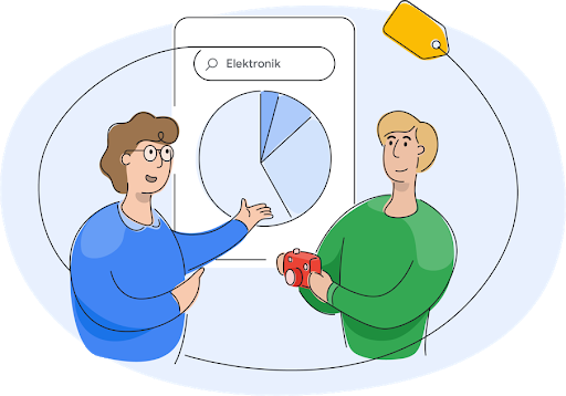 Ein Mitglied des Google Shopping-Teams, das mit einem Geschäftsinhaber über Kreisdiagramme spricht