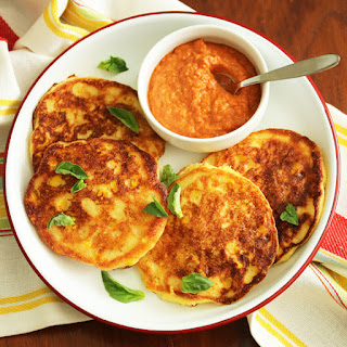 Corn Pancakes with Almond Red Pepper Romesco Sauce