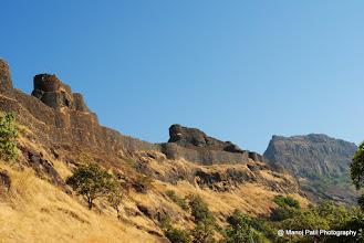 Photo: Fortification on Sanjivani Machi and Rajgad Balle Killa