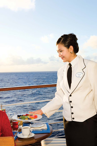 Breakfast service on the veranda of a Silversea ship.