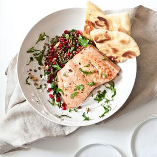 Pomegranate Lentil Salsa and Salmon Flatbread