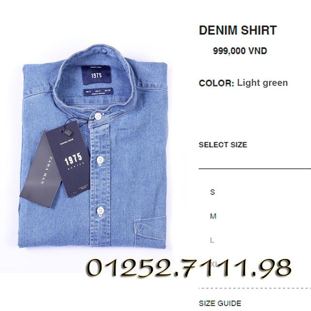 Sơ mi Denim Zara cổ trụ việt nam xuất khẩu