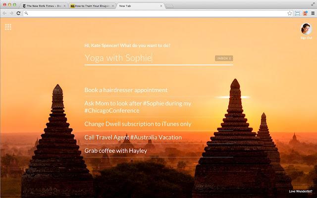 Wunderlist New Tab Screenshot