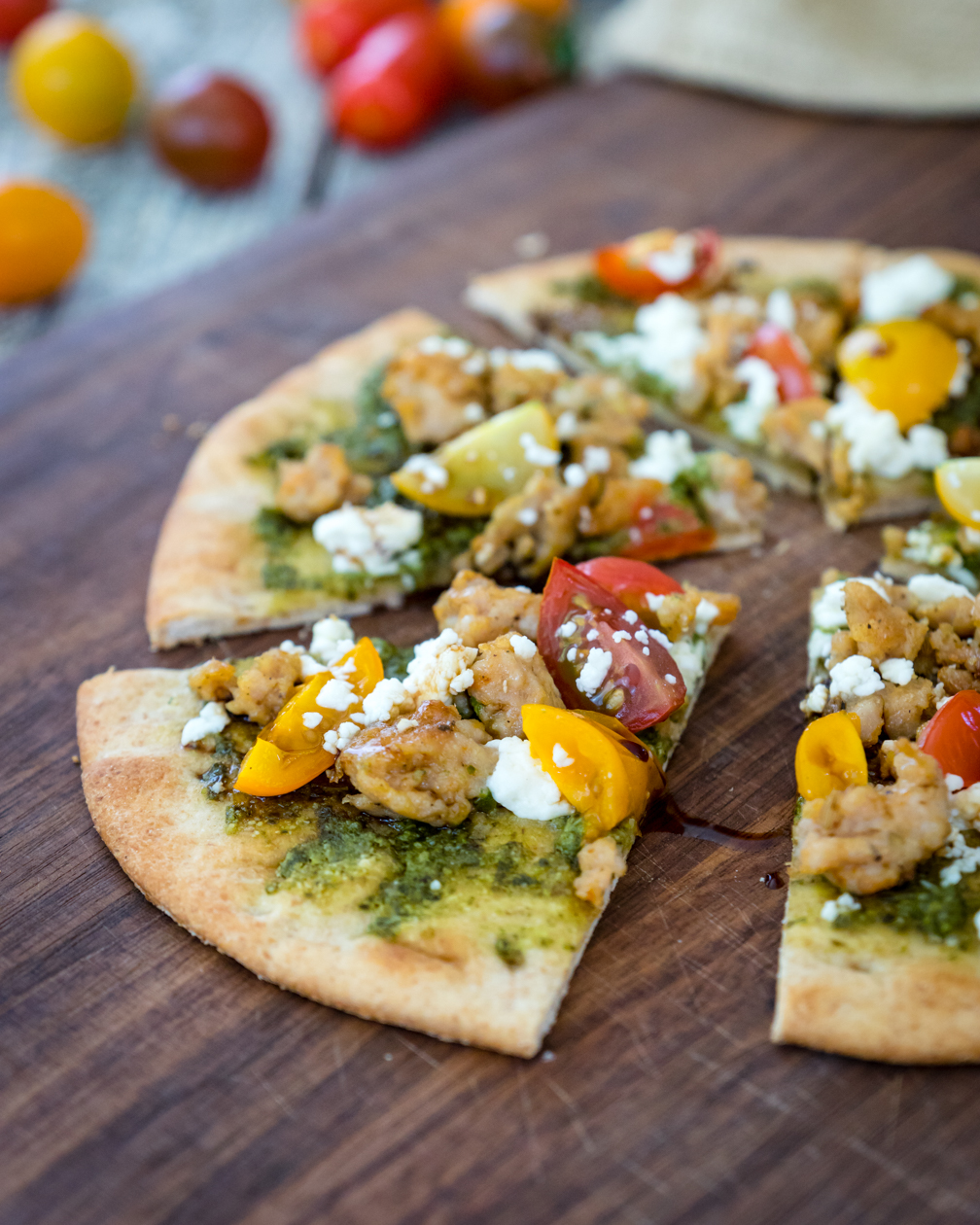 Super fast pesto pita pizza is an easy healthy meal
