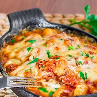 Gnocchi with Bacon, Tomato Sauce and Mozzarella.