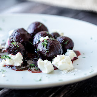 Baby Beets in Cranberry Juice with Ricotta, Cumin & Dill