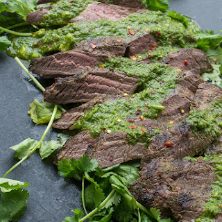 Grilled Flank Steak with Chimichurri Sauce.