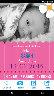 download baby birth announcement maker apk 1 0 0 com meetthebaby app