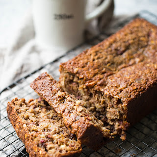 Old Fashioned Oat Banana Bread with Raspberry and Mint.