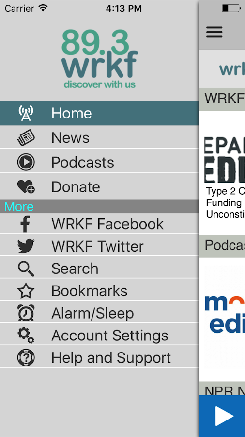 WRKF Public Radio App- screenshot