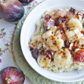 Shrimp, Bacon and Figs with Goat Cheese Quinoa Drizzled with Fig Balsamic.