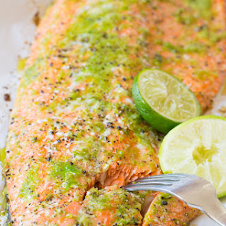 Garlic Lime Oven Baked Salmon.
