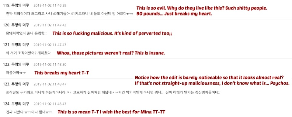 mina comments