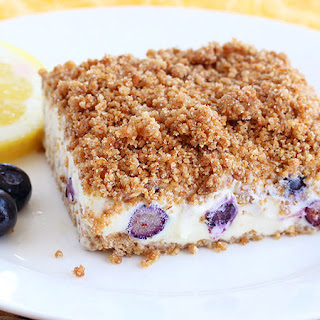 Lemon Blueberry Frozen Crunch Cake.