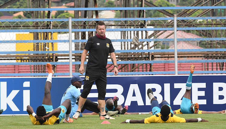 Former Black Leopards coach Dylan Kerr and his players before the match.