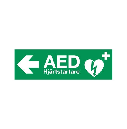AED klisteretikett 29,7x10,5cm Vänster pil