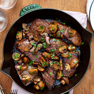 Easy Balsamic Glazed Steak Tips and Mushrooms.