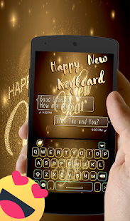 Happy New Year 2018 Go keyboard Gold Theme - náhled