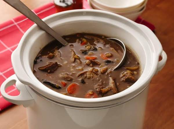 Slow Cooker Beefy Wild Mushroom And Barley Soup
