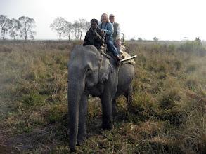 Photo: Aline and Graham at Kaziranga in Assam on elephant