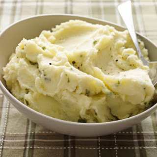 Mashed Potatoes with Mascarpone, Parmesan & Basil.