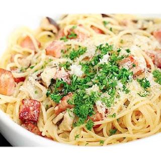 Creamy Ham & Mushroom Spaghetti