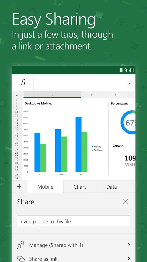 Screenshots of Microsoft Excel for iPhone