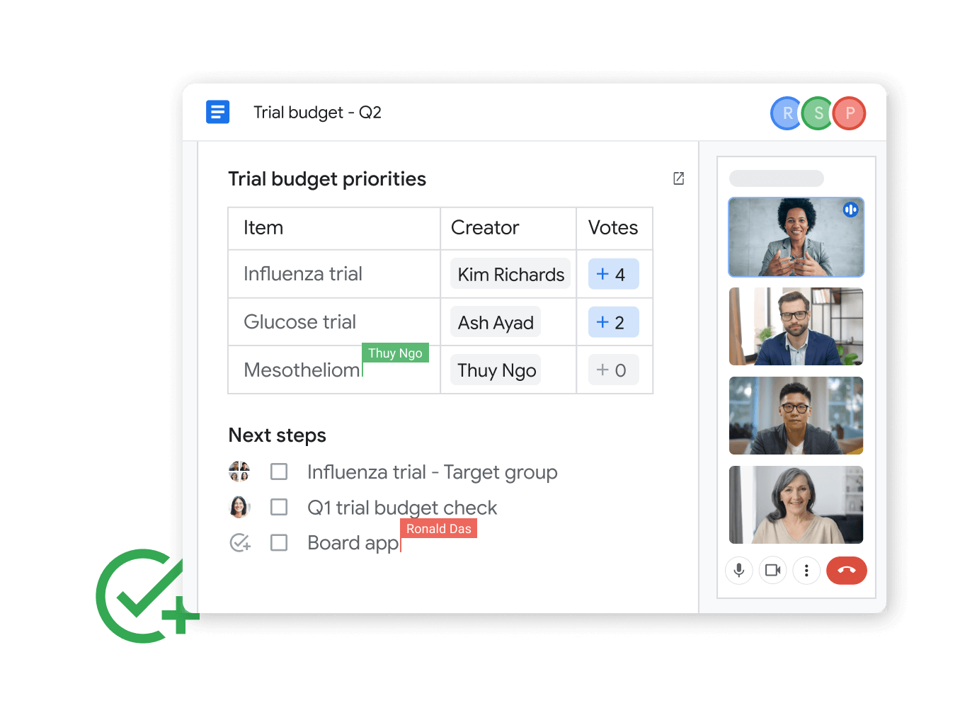 Workspace illustrative graphic - teammates edit docs while on a google meet call together