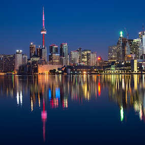 by James Wheeler - City,  Street & Park  Skylines ( calm, water, nobody, polson street pier, skyline, reflection, peaceful, can, colorful, toronto, travel, modern, buildings, cn tower )