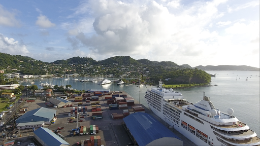 grenada-drone-still.png - Drone footage of the harbor of St. George's, Grenada, with Silver Spirit in the foreground.