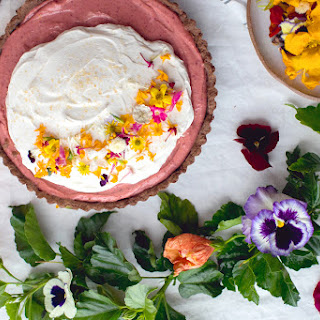 Hibiscus Lemon Curd Tart with Cocoa Crust & Edible Flower Garnish Recipe