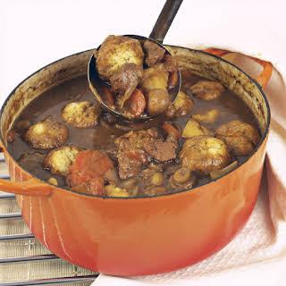 Crockpot Beef Stew With Herb Dumplings.